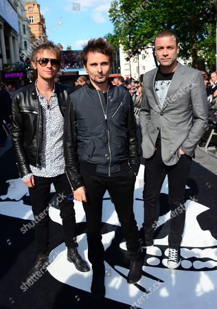 Muse members Matthew Bellamy, Christopher Wolstenholme and Dominic Howard arrive at The World Premiere of 'World War Z' at the Empire Cinema in London on Sunday June 2nd, 2013