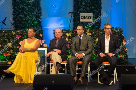 Carrie Mae Weems, Michael Bloomberg, Valentino D. Carlotti, and Jason Flom attend the Rush Philanthropic Arts Foundation's 15th Annual Art for Life Benefit at Fairview Farms in Water Mill, in New York