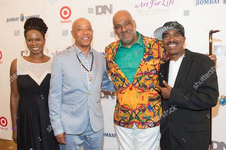 L-R) Tangie Murray, Russell Simmons, Danny Simmons and Kurtis Blow attend the Rush Philanthropic Arts Foundation's 15th Annual Art for Life Benefit at Fairview Farms in Water Mill, in New York