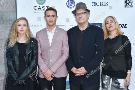 Claire Elizabeth Brooks, from left, Jacob Eli Brooks, Albert Brooks and Kimberly Shlain arrive at The17th Annual CAST From Slavery to Freedom Gala at The Skirball Cultural Center, in Los Angeles