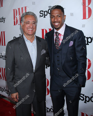 Del Bryant, BMI President & CEO and Nick Cannon arrive at the BMI Urban Awards honoring Mariah Carey held at the Saban theatre, in Beverly Hills, Calif