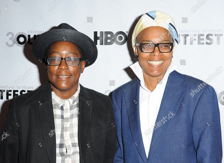 """Cheryl Dunye, at left, and Campbell X arrives at the Outfest Opening Night Gala of """"Vito"""" on in Los Angeles"""