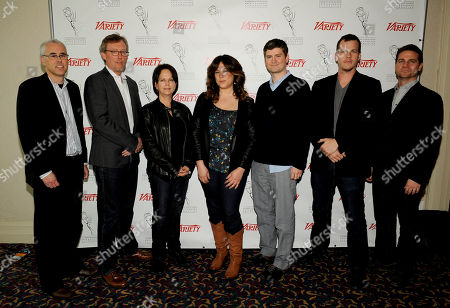 HOLLYWOOD, CA - MARCH 20: (L-R) Assistiant Managing Editor, Features, Variety Stuart Levine, Executive Producer, Homeland Alex Gansa, Executive Producer, Dallas Cynthia Cidre, Executive Producer Suburgatory Emily Kapnek, Executive Producer, Parks and Recreation Mike Schur, Executive Prpducer Person of Interest Jonah Nolan and Executive Producer, Person of Interest Greg Plageman pose in the green room at the 2012 TV Summit Presented by Variety and the Academy of Television Arts & Sciences Foundation at the Renaissance Hollywood Hotel on in Hollywood, California