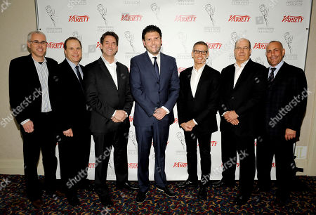 HOLLYWOOD, CA - MARCH 20: (L-R) Assistant Managing Editor, Features, Variety Stuart Levin, President, CKX Marc Graboff, EVP, Head of Programming, TBS, TNT and Turner Classic Movies (TMC) Michael Wright, CEO, Electus Chris Grant, President, HBO Programming Michael Lombardo, Co-President, USA Network & Co-Head, Original Content, Universal Cable Productions, Jeff Wachtel, and Head of Worldwide Television, ICM Ted Chervin pose in the green room at the 2012 TV Summit Presented by Variety and the Academy of Television Arts & Sciences Foundation at the Renaissance Hollywood Hotel on in Hollywood, California
