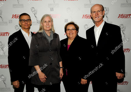 HOLLYWOOD, CA - MARCH 20: TV Summit Committee members (L-R), President, HBO Programming Michael Lombardo, Terri Clark, Academy of Television Arts & Sciences Foundation Executive Director Norma Provencio Pichardo and Academy of Television Arts & Sciences Foundation, Jerry Petry pose in the green room at the 2012 TV Summit Presented by Variety and the Academy of Television Arts & Sciences Foundation at the Renaissance Hollywood Hotel on in Hollywood, California