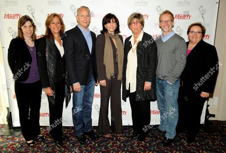 HOLLYWOOD, CA - MARCH 20: (L-R) Deputy Editor, Variety, Cynthia Littleton, EVP & GM, Logo, MTV Networks Lisa Sherman, EVP & GM, TakePart, Participant Media Christopher Gebhardt, President, Dick Clrk Productions Orly Adelson, VP, Social Responsibility, Cartoon Network Alice Cahn, Founder & DEO, 3 Ball Productions JD Roth and Academy of Television Arts & Sciences Foundation Executive Director Norma Provencio Pichardo pose in the green room at the 2012 TV Summit Presented by Variety and the Academy of Television Arts & Sciences Foundation at the Renaissance Hollywood Hotel on in Hollywood, California