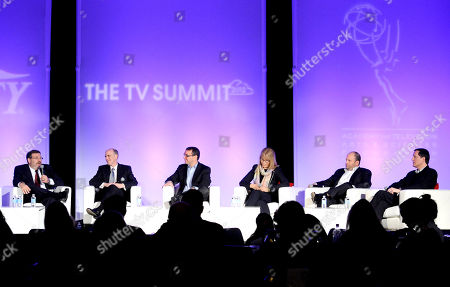HOLLYWOOD, CA - MARCH 20: (L-R) TV Columnist, Variety Brian Lowry, President & CEO, Crown Media Family Networks (Hallmark Channel, Hallmark Movie Channel), Bill Abbott, EVP Marketing, Comedy Central Walter Levitt, President, Animal Planet & Science Chanel Marjorie Kaplan, SVP, Media & Technology, Ipsos MediaCT Ben Spergel and President of Marketing and Communications, Fox Broadcasting Company Joe Earley participate in The Art of The Show Launch: How to Break Through the Clutter portion of the 2012 TV Summit Presented by Variety and the Academy of Television Arts & Sciences Foundation at the Renaissance Hollywood Hotel on in Hollywood, California