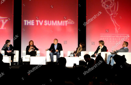 HOLLYWOOD, CA - MARCH 20: (L-R) Deputy Editor, Variety, Cynthia Littleton, EVP & GM, Logo, MTV Networks Lisa Sherman, EVP & GM, TakePart, Participant Media Christopher Gebhardt, President, Dick Clrk Productions Orly Adelson, VP, Social Responsibility, Cartoon Network Alice Cahn and Founder & DEO, 3 Ball Productions JD Roth participates in The Power of TV - Making Content That Matters portion of the 2012 TV Summit Presented by Variety and the Academy of Television Arts & Sciences Foundation at the Renaissance Hollywood Hotel on in Hollywood, California
