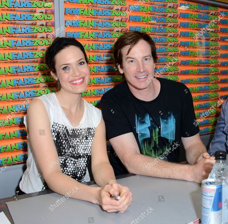 "Cast members Mandy Moore, left, and Rob Huebel attend the FOX ""Animation Domination"" booth signing on Day 3 of Comic-Con International on in San Diego, Calif"
