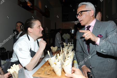 Chef Geoffrey Zakarian speaks with Best New Chef alum April Bloomfield at the 2013 FOOD & WINE Best New Chefs 25th anniversary celebration at Pranna in New York