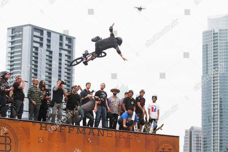 Mat Hoffman rides in the Vert Jam exhibition during Fun Fun Fun Fest on in Austin, Texas