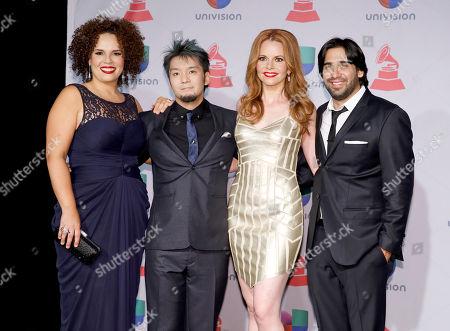 Stock Picture of Members of Quattro, Lisa Dondlinger, Giovanna Moraga Clayton, Kay-Ta Matsuno, and Jorge Villanueva arrives at the 14th Annual Latin Grammy Awards at the Mandalay Bay Hotel and Casino, in Las Vegas