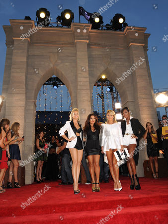 From left, Shannon Bex, Andrea Fimbres, Aubrey O'Day and Dawn Richards of Danity Kane arrive at the MTV Video Music Awards, at the Barclays Center in the Brooklyn borough of New York