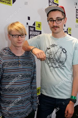 Gwil Sainsbury, left, and Gus Unger-Hamilton of Alt-J pose backstage at the mtvU Woodie Awards on