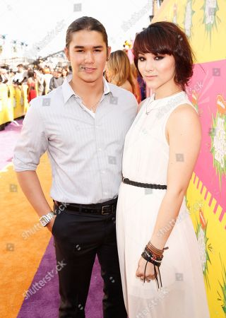 Boo Boo Stewart, left, and Fivel Stewart arrive at the 26th annual Nickelodeon's Kids' Choice Awards, in Los Angeles