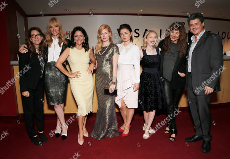 """Nicole Holofcener, Toni Collette, Julia Louis Dreyfus, Tracey Fairaway, Eve Hewson, Tavi Gevinson, Catherine Keener and Anthony Bregman are seen at Fox Searchlight's Premiere of """"Enough Said"""", on Saturday, September 7th, 2013 in Toronto, Canada"""