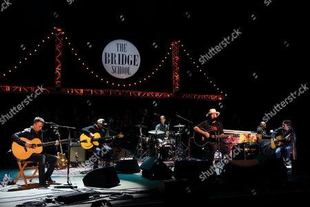 Mike McCready, Jeff Ament, Matt Cameron, Eddie Vedder, Stone Gossard (L-R), and Pearl Jam perform at the 2014 Bridge School Benefit at the Shoreline Amphitheatre in Mountain View California on