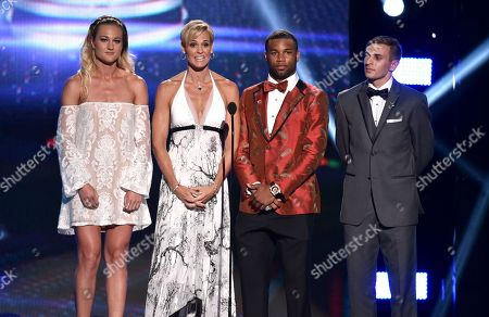 Stock Picture of From left, Hannah Rogers, Dara Torres, Golden Tate and Max Lachowecki speak on stage at the ESPY Awards at the Nokia Theatre, in Los Angeles