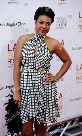 """Courtney Sauls, a cast member in """"Dear White People,"""" poses at a screening of the film at the Los Angeles Film Festival on in Los Angeles"""