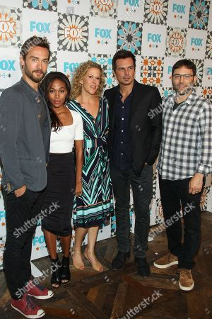 Stock Photo of From left, Tom Mison, Nicole Beharie, Heather Kadin, Len Wiseman, and Mark Goffman attend the FOX Summer TCA All-Star Party at Soho House on in West Hollywood, Calif