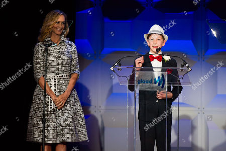 Chely Wright and Marcel Neergaard appear on stage at the GLAAD Media Awards on in New York