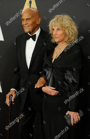 Harry Belafonte, left, and Pamela Frank arrive at the 6th annual Governors Awards at the Hollywood and Highland Center on in Los Angeles