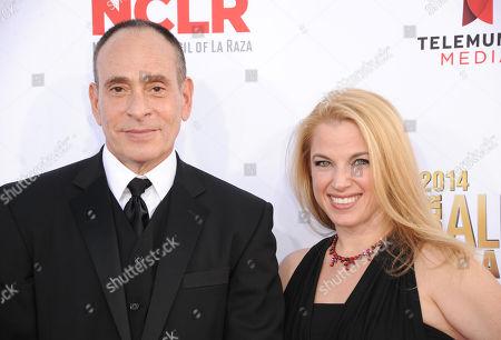 Nestor Serrano, left, and Debbie Serrano arrive at the NCLR ALMA Awards at the Pasadena Civic Auditorium, in Pasadena, Calif