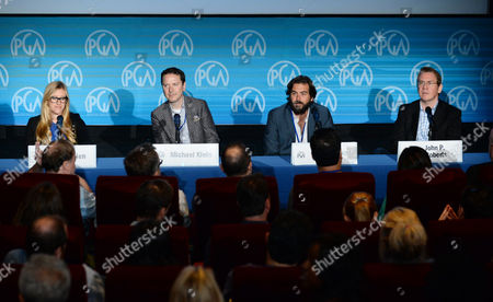 Stock Photo of Laura Allen, and from left, Michael Klein, Erick Opeka and John P. Roberts speak on stage at the Produced By Conference - Day 2 at Warner Bros. Studios, in Burbank, Calif
