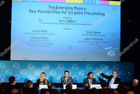 Stock Picture of Laura Allen, and from left, Michael Klein, Erick Opeka and John P. Roberts speak on stage at the Produced By Conference - Day 2 at Warner Bros. Studios, in Burbank, Calif