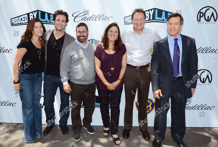 Rena Ronson, and from left, Stephan Paternot, Glen Basner, Lydia Dean Pilcher, Gary Lucchesi and Sky Moore attend the Produced By Conference - Day 2 at Warner Bros. Studios, in Burbank, Calif