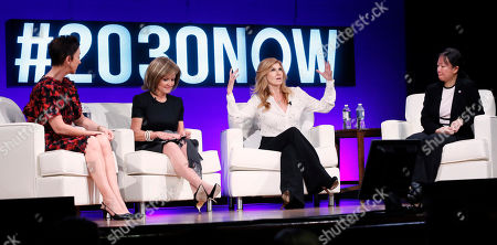 Jane Wurwand, Founder of Dermalogica, and from left, Vicki Escarra, CEO, Opportunity International, Connie Britton, actress and Goodwill Ambassador UNDP, and Rosa Wang, Director Mobile Money Opportunity International, discuss women empowerment at the fifth annual Social Good Summit: Connecting for Good, Connecting for All, at the 92Y, on Mon., in New York