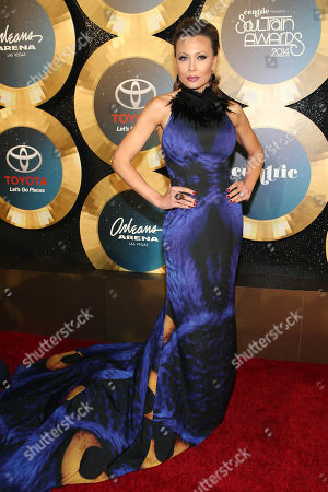 Singer Alyson Cambridge arrives during the 2014 Soul Train Awards at the Orleans Arena at The Orleans Hotel & Casino on in Las Vegas, NV
