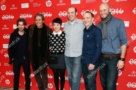 "From left to right, producer Cameron Lamb, producer Andrew Banks, cast member Rinko Kikuchi, writer and producer Nathan Zellner, director David Zellner, and producer Chris Ohlson pose at the premiere of the film ""Kumiko, the Treasure Hunter"" during the 2014 Sundance Film Festival, on in Park City, Utah"
