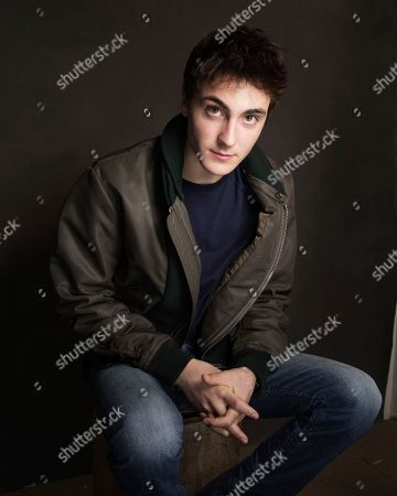 Noah Silver poses for a portrait at Quaker Good Energy Lodge with GenArt and the Collective, during the Sundance Film Festival, on in Park City, Utah
