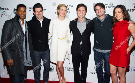 """Nate Parker, from left, Max Greenfield, Maggie Grace, Jesse Zwick, Jason Ritter and Aubrey Plaza attend the premiere of """"About Alex"""" during the Tribeca Film Festival on in New York"""