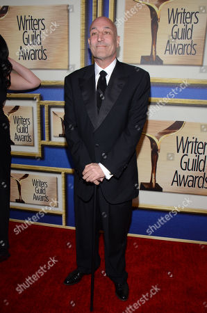 Sam Simon arrives at the Writers Guild Awards,, in Los Angeles