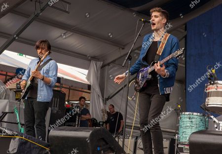 Thomas Onebane and Gary Larsen perform with Royal Teeth at the New Orleans Jazz & Heritage Festival, on in New Orleans