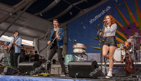 Thomas Onebane, Gary Larsen and Nora Patterson perform with Royal Teeth at the New Orleans Jazz & Heritage Festival, on in New Orleans