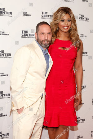 Alexis Bittar, left, and Laverne Cox, right, attend the 2015 Center Dinner benefit gala at Cipriani's Wall Street, in New York