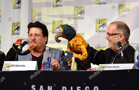 "Pepe the King Prawn, left, puppeteer Bill Barretta, The Great Gonzo, and puppeteer Dave Goelz attend ""The Muppets"" panel on day 3 of Comic-Con International, in San Diego"
