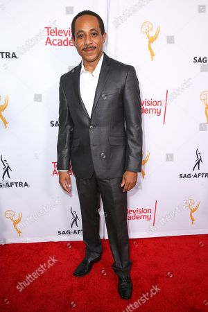 Dale Godboldo arrives at the 2015 Dynamic and Diverse Emmy Celebration at the Montage Hotel, in Beverly Hills, Calif