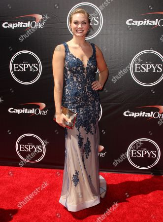 Athlete Micha Hancock arrives at the ESPY Awards at the Microsoft Theater, in Los Angeles