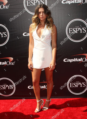 Surfer Anastasia Ashley arrives at the ESPY Awards at the Microsoft Theater, in Los Angeles