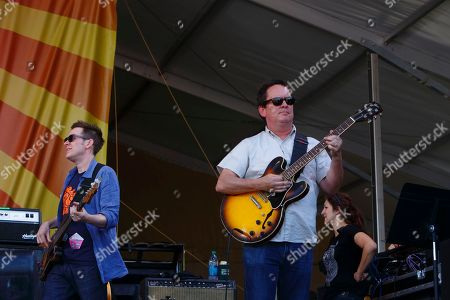 Robert Mercurio, Jeff Raines and Galactic perform at the New Orleans Jazz & Heritage Festival, in New Orleans, Louisiana