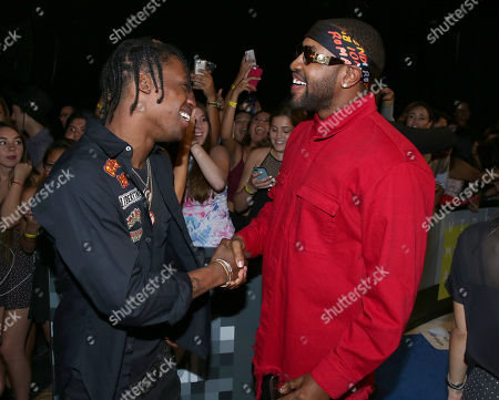 A$SAP Rocky, left, and Mike Will Made It shake hands at the MTV Video Music Awards at the Microsoft Theater, in Los Angeles