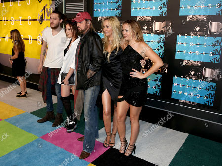 Stock Photo of Braison Cyrus, from left, Noah Cyrus, Billy Ray Cyrus, Tish Cyrus and Brandi Glenn Cyrus arrive at the MTV Video Music Awards at the Microsoft Theater, in Los Angeles