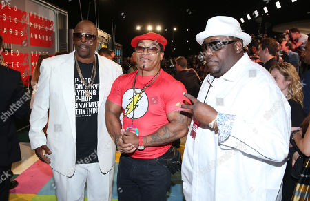 Grandmaster Caz, from left, Melle Mel and Kool Moe Dee arrive at the MTV Video Music Awards at the Microsoft Theater, in Los Angeles