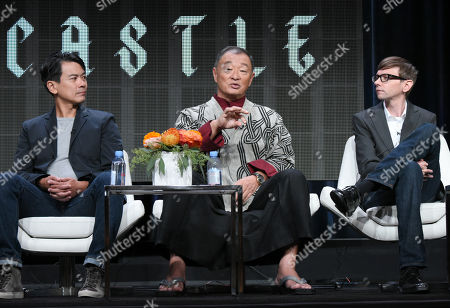 "Joel de la Fuente, from left, Cary-Hiroyuki Tagawa and DJ Qualls participate in ""The Man in the High Castle"" panel at the Amazon Summer TCA Tour at the Beverly Hilton Hotel, in Beverly Hills, Calif"