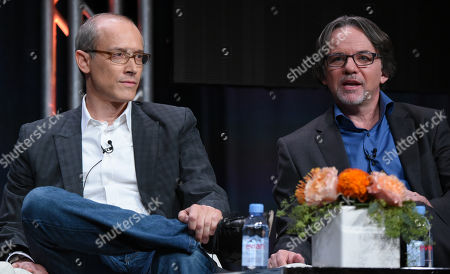 "Stock Picture of Producers David W. Zucker, left, and Frank Spotnitz participate in ""The Man in the High Castle"" panel at the Amazon Summer TCA Tour at the Beverly Hilton Hotel, in Beverly Hills, Calif"