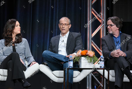 "Producers Isa Dick Hackett, from left, David W. Zucker and Frank Spotnitz participate in ""The Man in the High Castle"" panel at the Amazon Summer TCA Tour at the Beverly Hilton Hotel, in Beverly Hills, Calif"